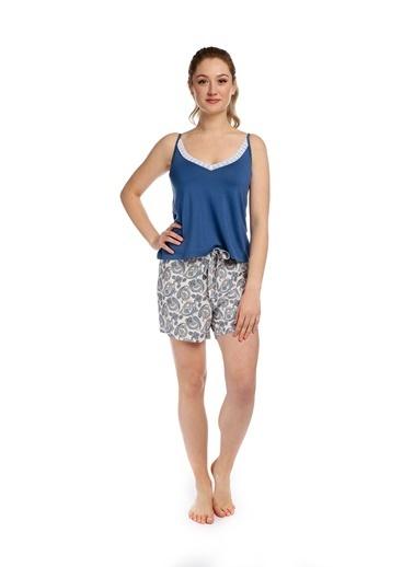 Pamuk & Pamuk Dantelli Şal Desen Şort Kadın Pijama Takım Renkli